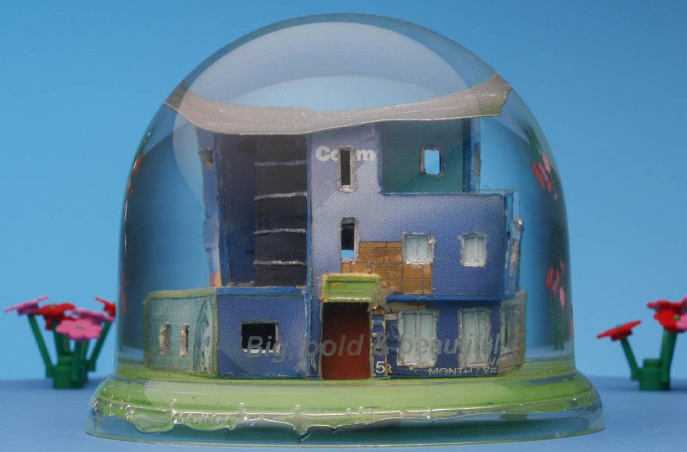 """Big, Bold and Beautiful"" snow dome with mixed media, 90 x 70mm 2011"