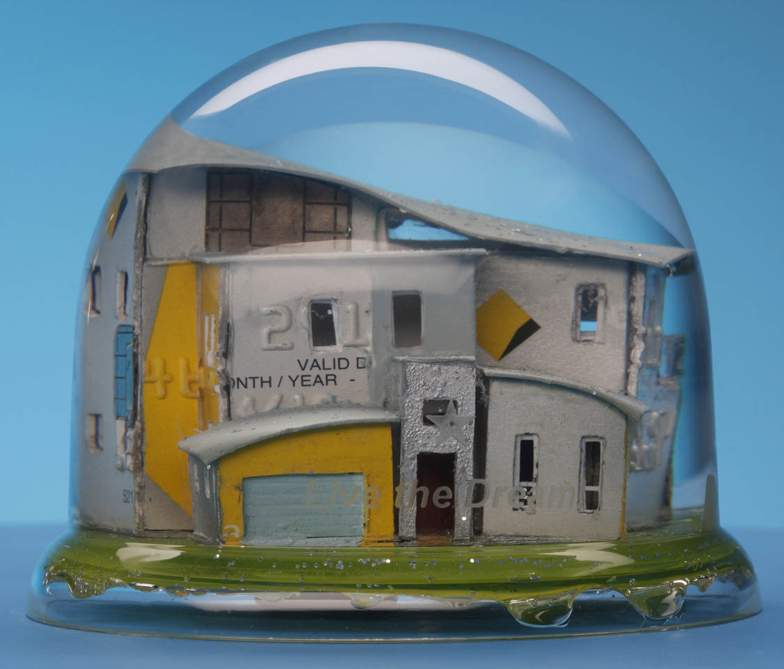 """Live the Dream!"" snow dome with mixed media, 90 x 70mm 2011"