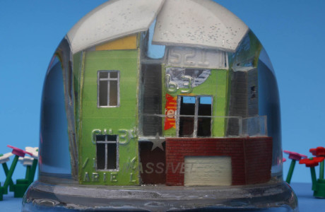 """MASSIVE!"" snow dome with mixed media 90 x 70 mm, 2011"