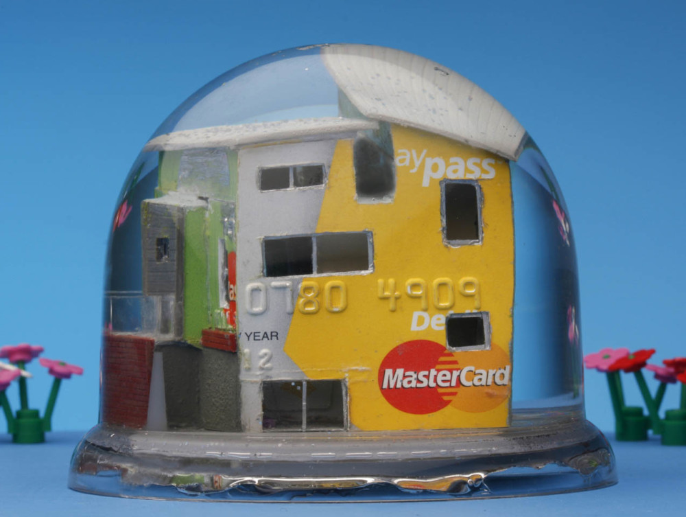"""MASSIVE!"" (rear view) snow dome with mixed media 90 x 70mm, 2011"
