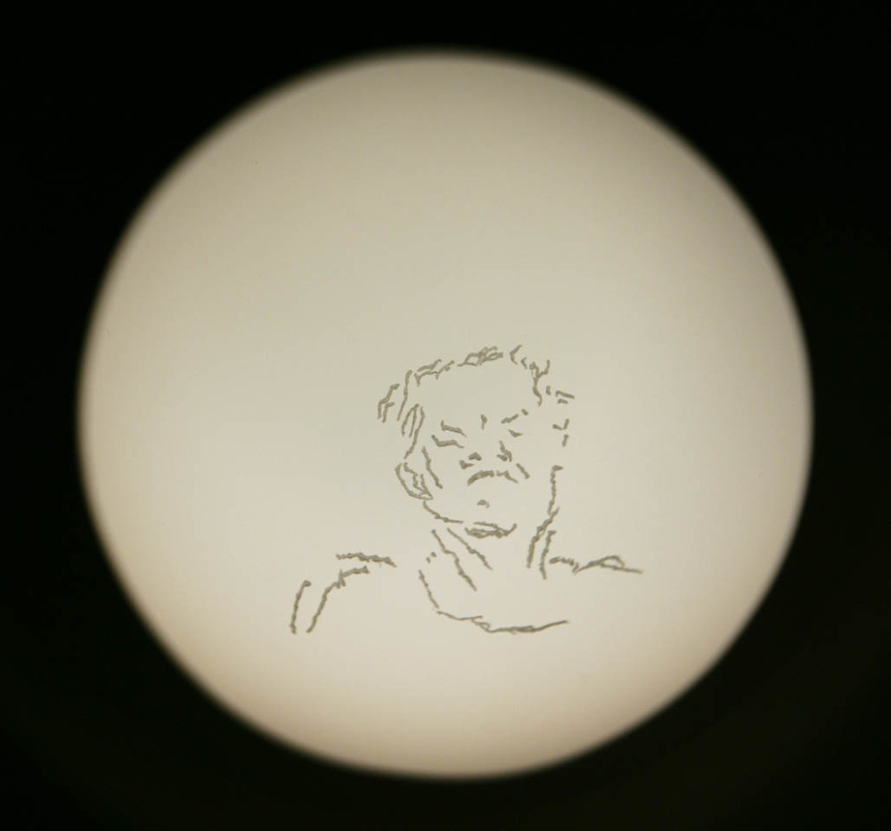 """Mrs. B"", engraved glass projected through Magic Lantern, 2007"