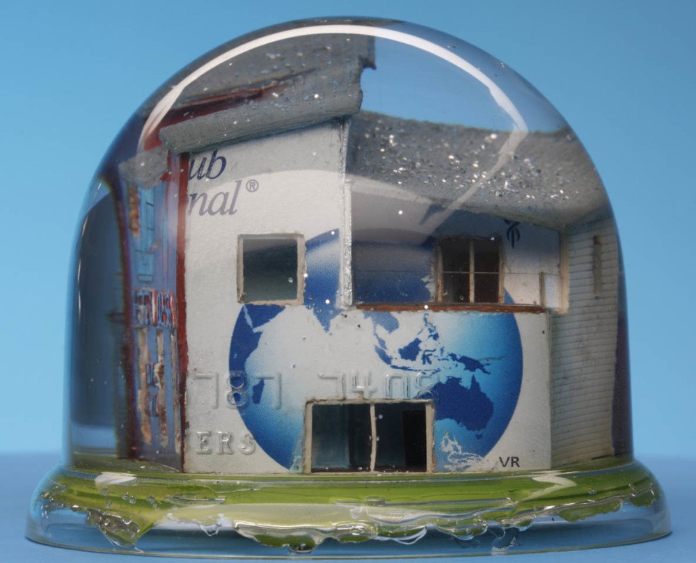 """Size does matter"" snow dome with mixed media, 90 x 70mm 2011"
