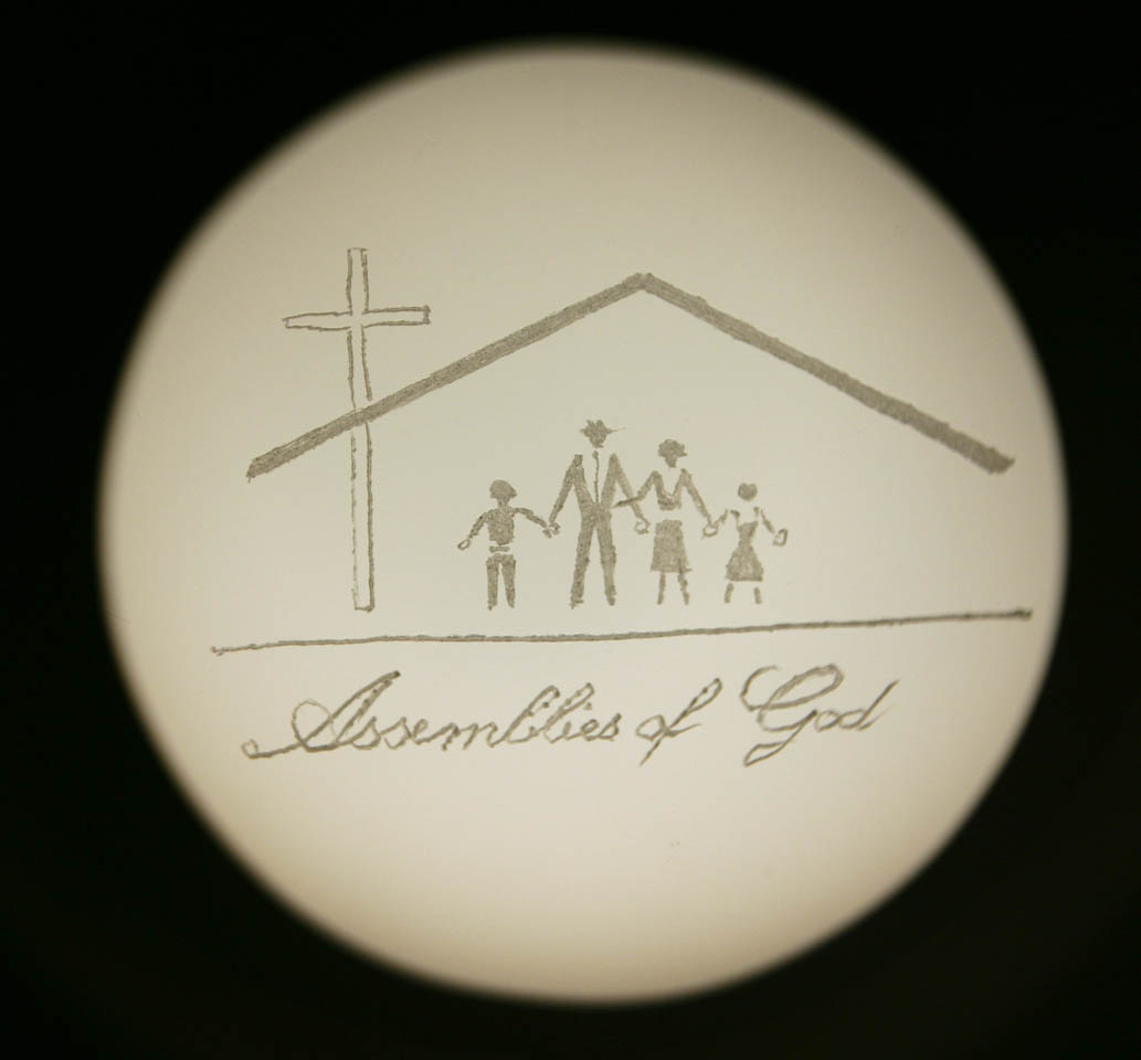 """Assemblies of God"", engraved glass projected through Magic Lantern, 2007"