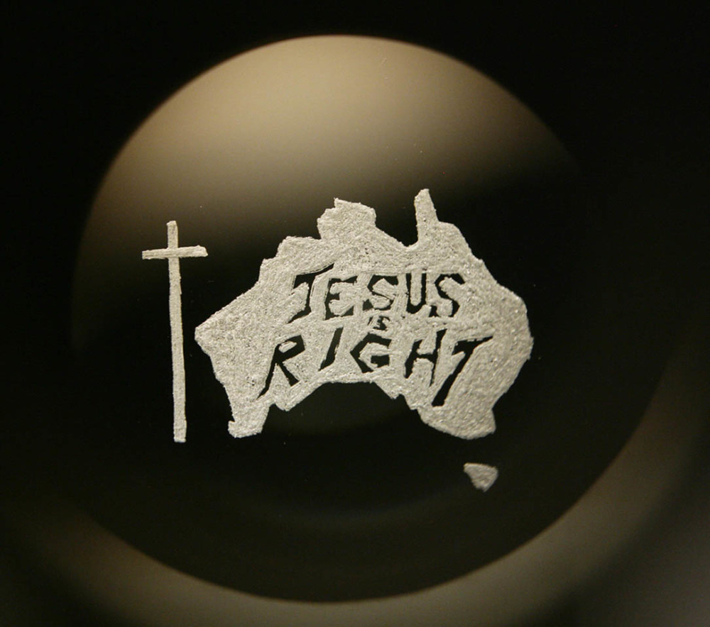 """Jesus is right"", engraved glass projected through Magic Lantern, 2007"
