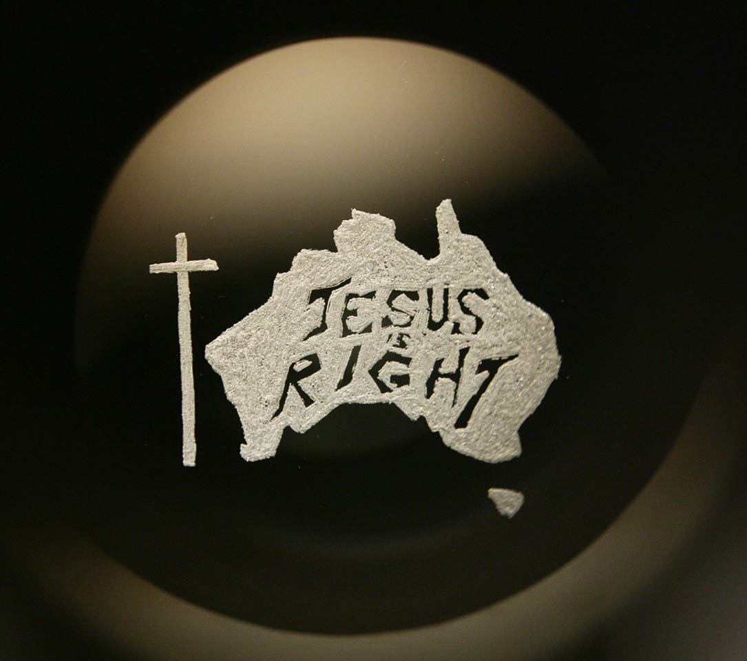 """""""Jesus is right"""", engraved glass projected through Magic Lantern, 2007"""