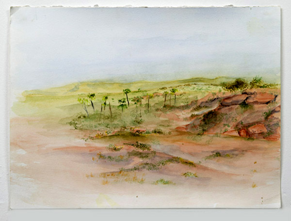 """Palm valley"", watercolour on paper"