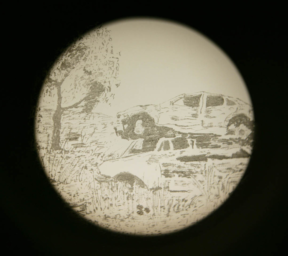 """Still life, Kintore"", engraved glass projected through Magic Lantern, 2007"