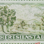 enlarged postal stamp from theresienstadt depicting clam pastoral scene, with part of wing of Nazi eagle in blood red in bottom right corner