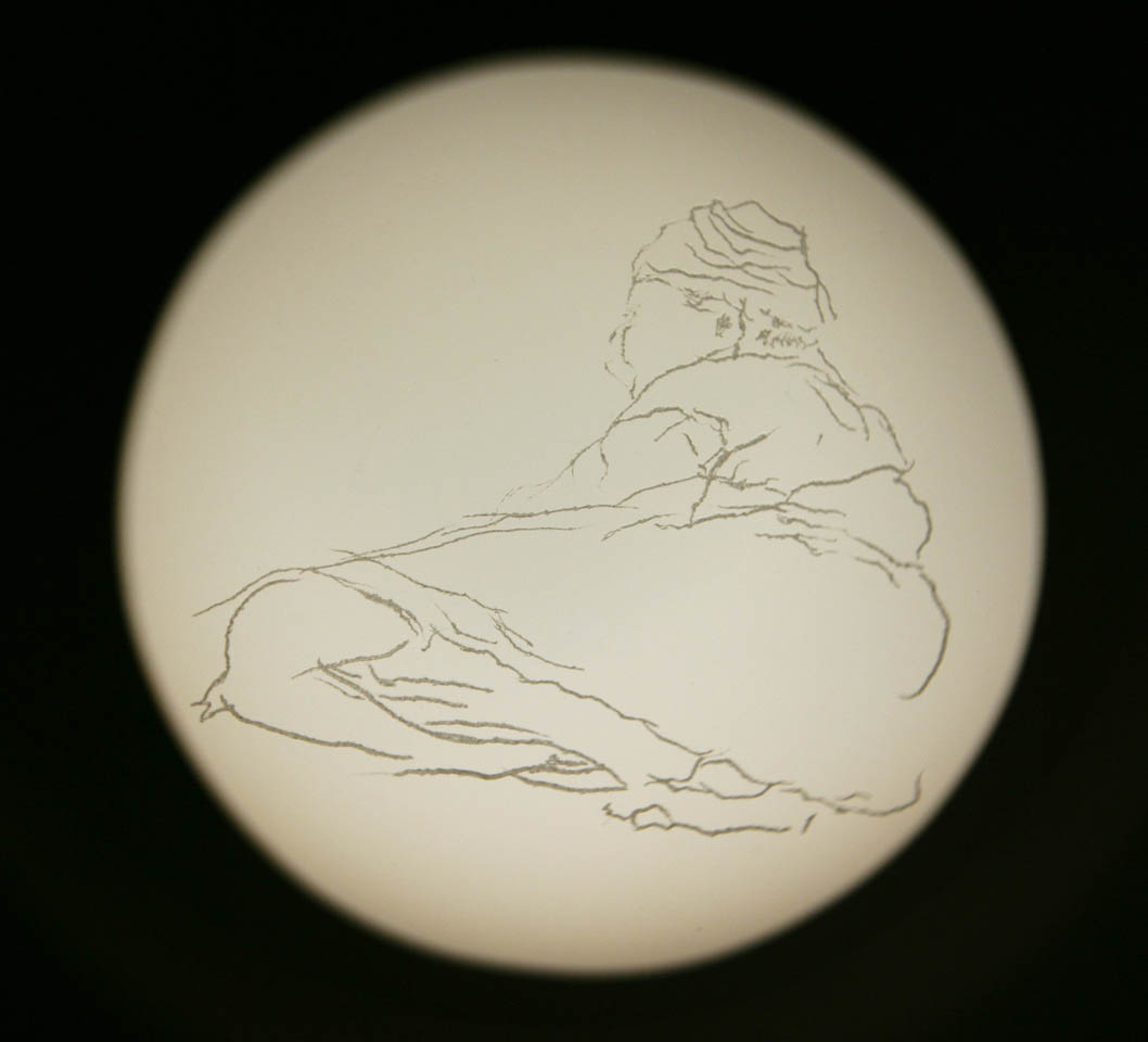 """Walungkura"", engraved glass projected through Magic Lantern, 2007"